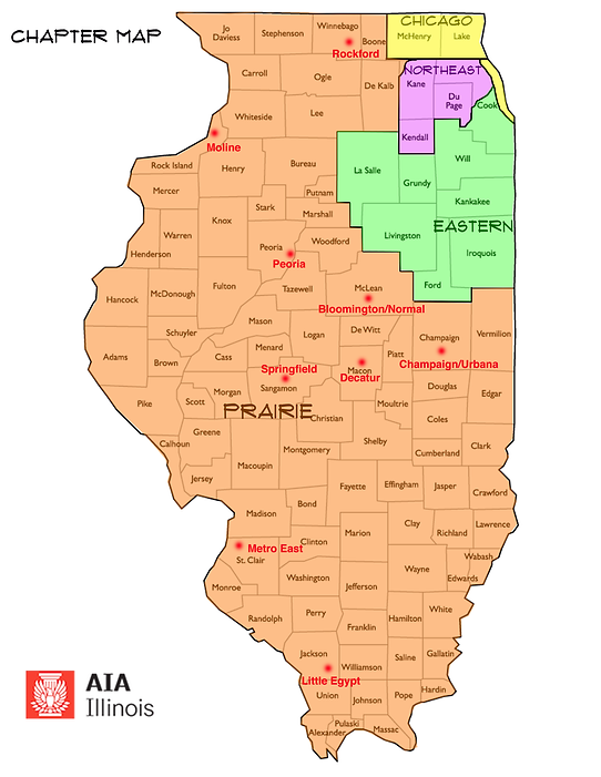 AIA Illinois Chapter Map with AIA Chicago, AIA Northeast Illinois, AIA Eastern Illinois and Prairie