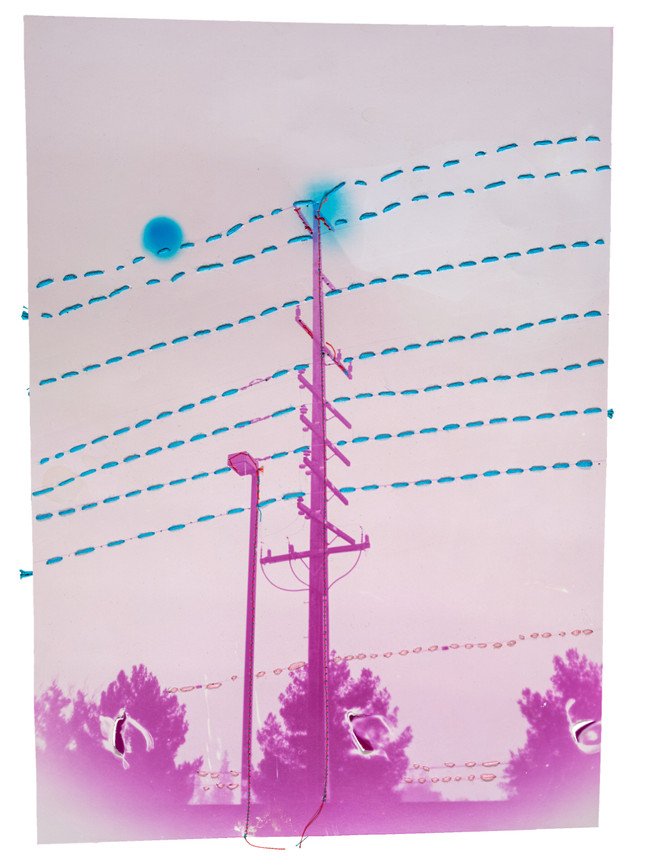 Pink power line with blue cables, 2021  Chemically altered chromogenic photograph accentuated with thread and embroidery floss  14 x 11 ins (35.56 x 27.94 cms)