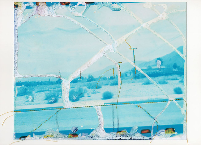 Untitled (Ruined blue desert), 2015  Chemically altered chromogenic print accentuated with thread  8 x 10 ins (20.32 x 25.40 cms)