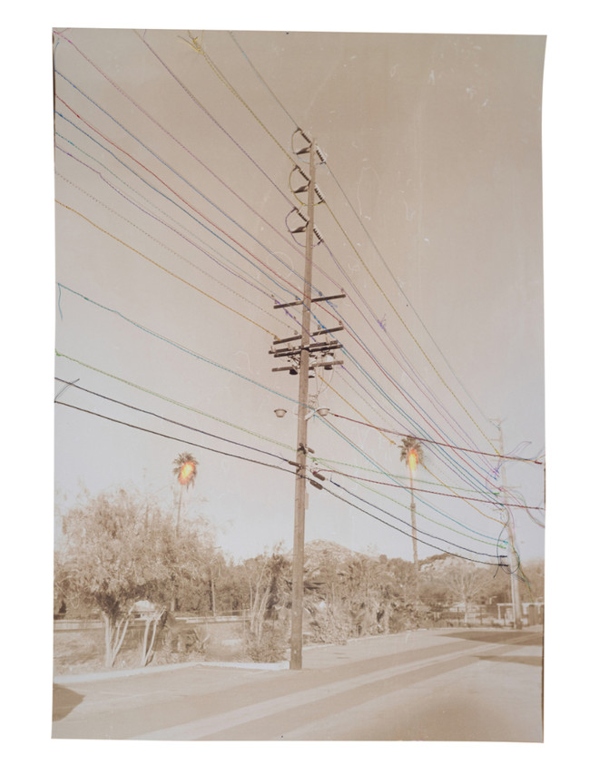Untitled (Pale mauve power lines with rainbow thread), 2020  Chemically altered chromogenic photograph accentuated with thread  24 x 17.75 ins (60.96 x 45.09 cms)