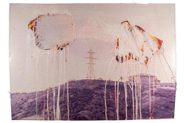 Punctured Sky, 2018  Chemically altered chromogenic print accentuated with thread  16 x 20 ins (40.64 x 50.80 cms)