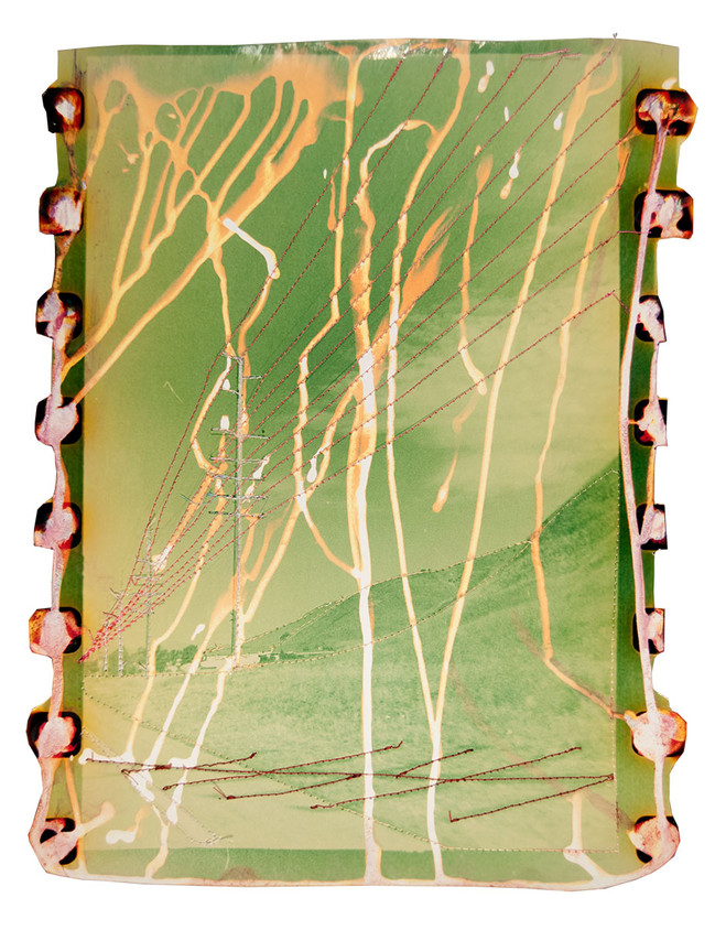 Untitled (Yellow green landscape with pink power lines), 2015  Chemically altered chromogenic photograph accentuated with thread  14 x 11 ins (35.56 x 27.94 cms)