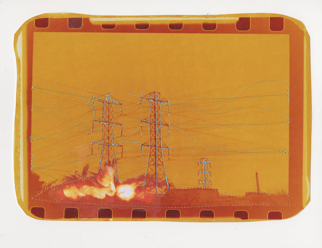 Untitled (Yellow landscape with blue power lines), 2016  Chemically altered chromogenic print accentuated with thread  7 x 9.75 ins (17.78 x 24.77 cms)