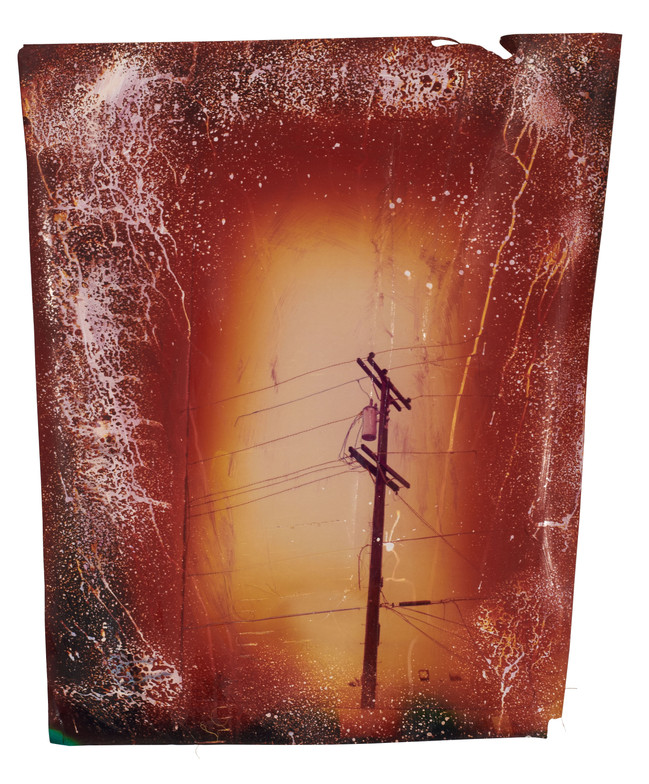 Power line with red vignette, 2016  Chemically altered chromogenic print accentuated with thread  29.5 x 25 inch
