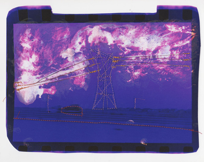 Untitled (Purple landscape with orange power lines), 2016  Chemically altered chromogenic photograph accentuated with thread  7.75 x 9.5 ins (19.68 x 24.13 cms)