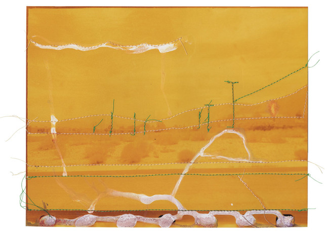 Untitled (Yellow and Green Landscape), 2015  Chemically altered chromogenic photograph accentuated with thread  8 x 10.00 ins (20.32 x 25.40 cms)