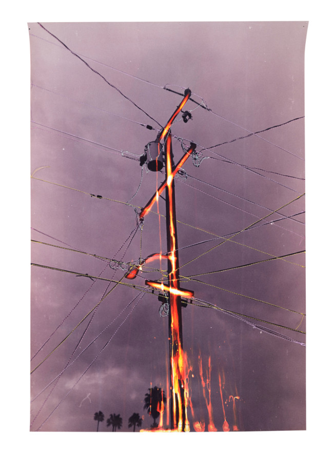 Untitled (Bleached out power line), 2020  Chemically altered chromogenic photograph accentuated with thread  24.00 x 18.00 ins (60.96 x 45.72 cms)
