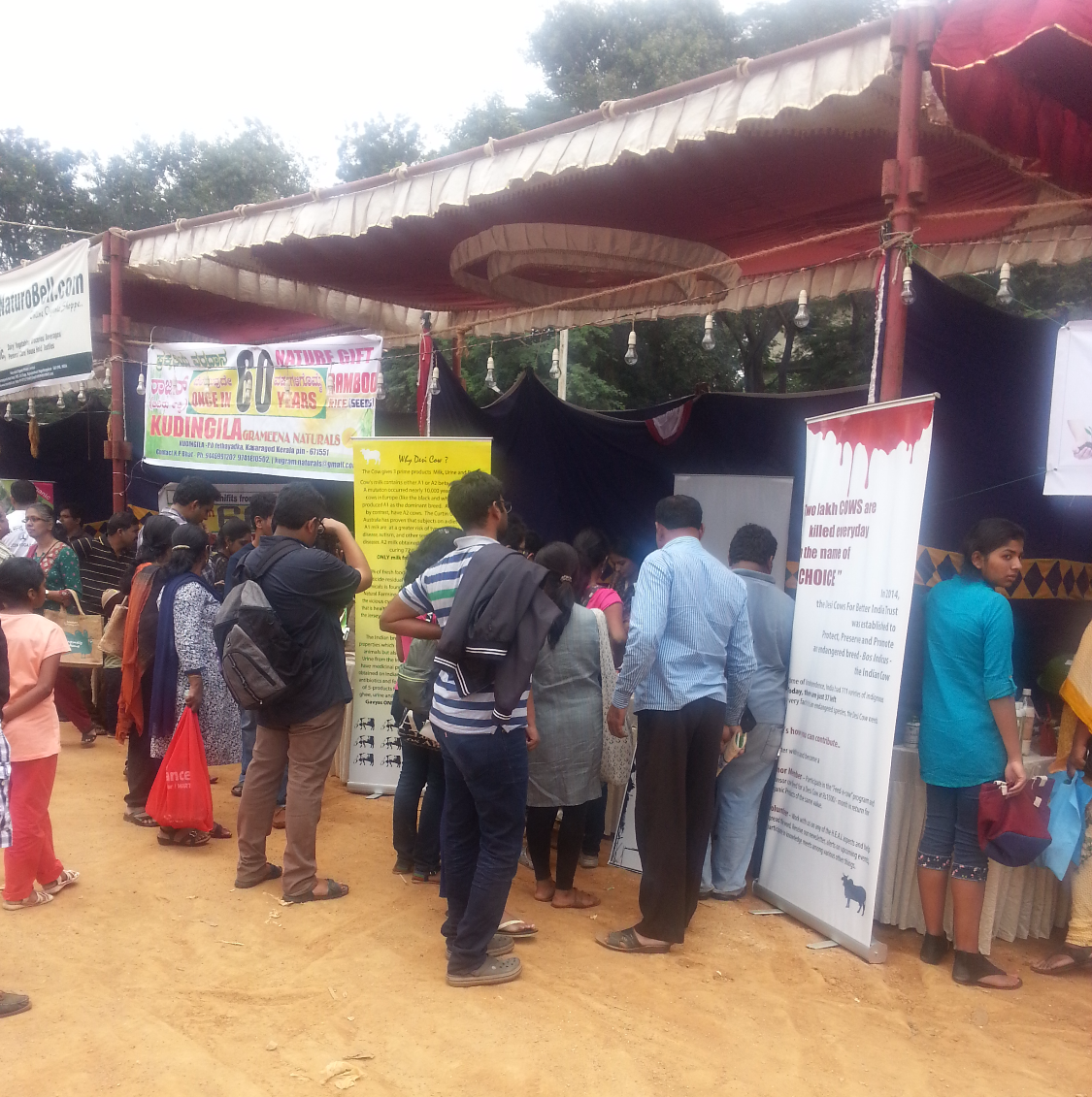 Visitors at the stall