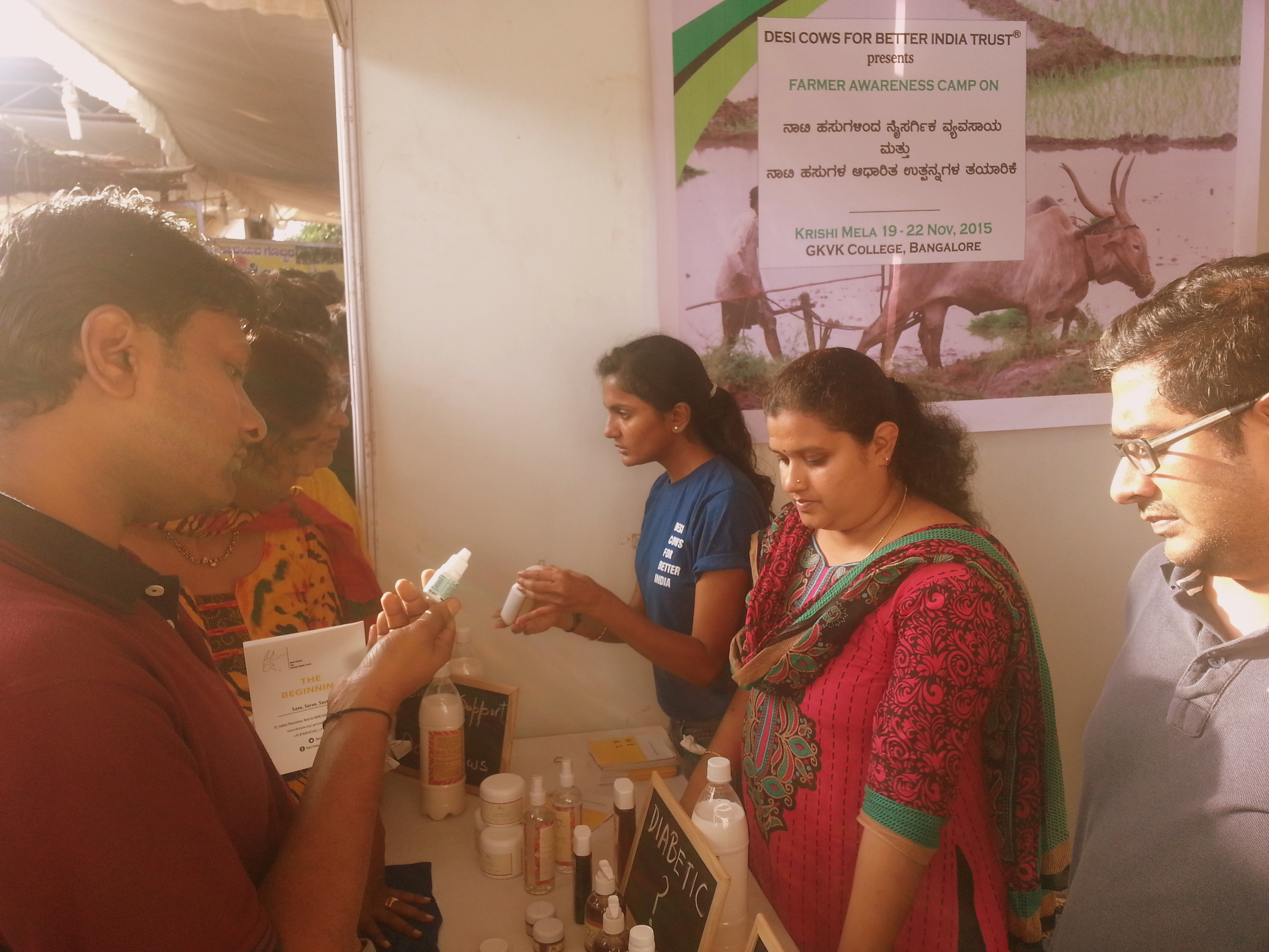 Volunteers interacting with visitors