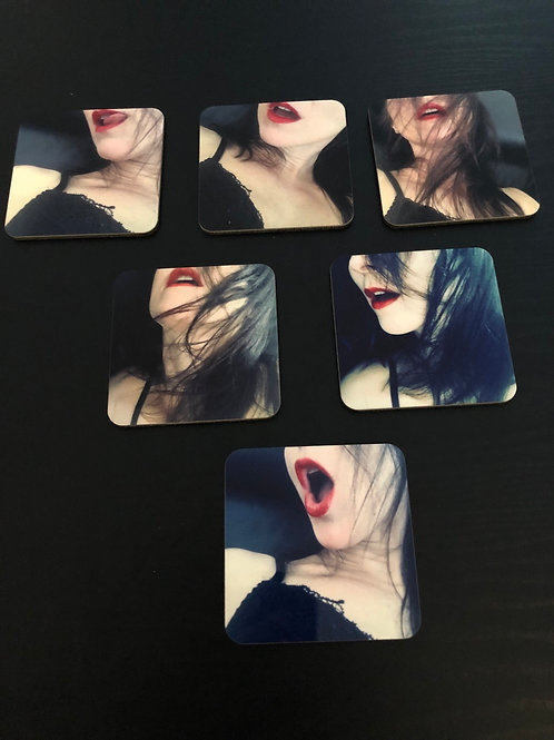 Set de 6 sous-verres Lectra : Série bouche sensuelle