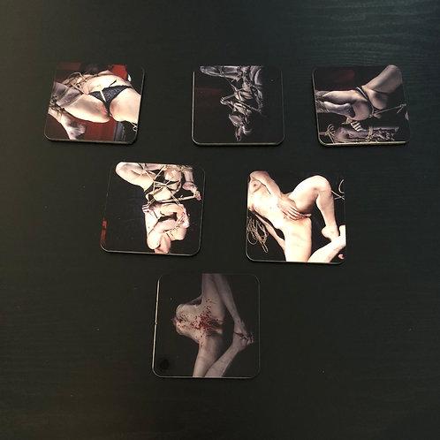 Set de 6 sous-verres Lectra : Série shibari