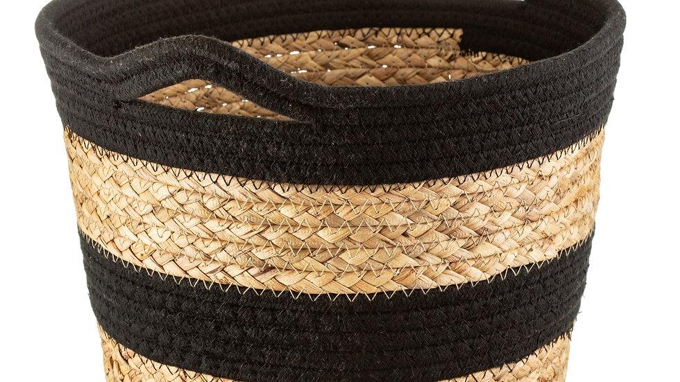 Sass & Belle Black Rope & Grass Stripe Basket