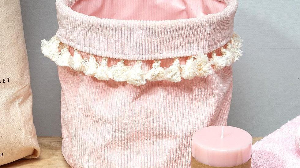 Pink Cord Tassel Basket