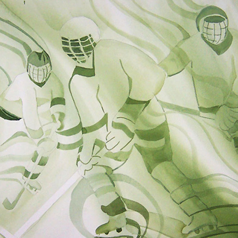 Watercolor Painting – Hockey Players