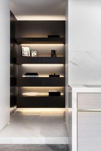 Lighting enhances shelves