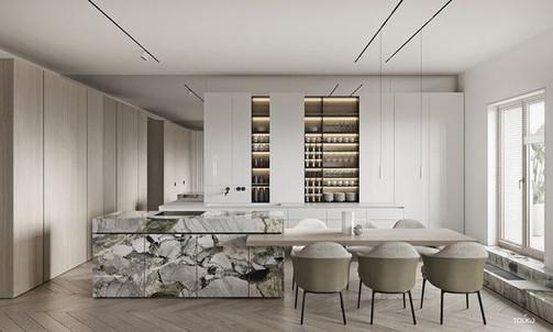 Modern Marble & Wood Kitchen