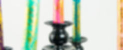 Ombre taper candles in a repurposed FDA black candelabra