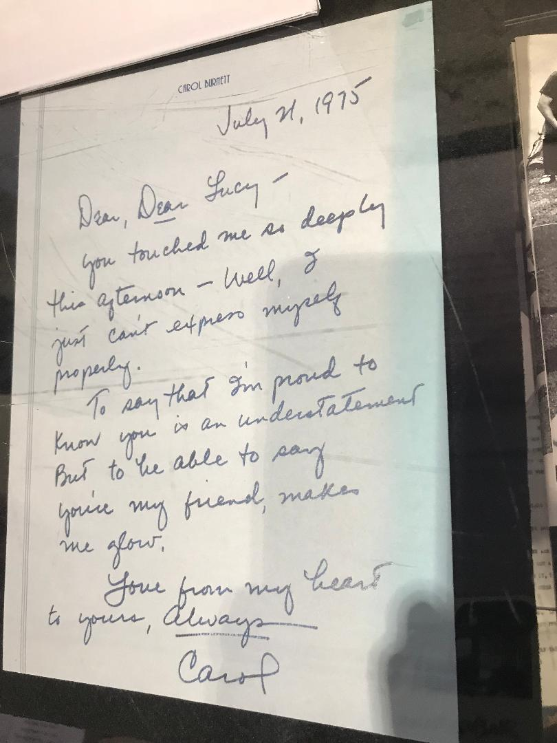 Lucy Desi PS Exhibit Carol Burnett letter to Lucy 7-21-1975