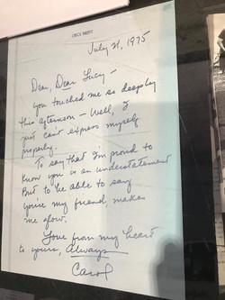 Lucy Desi PS Exhibit Carol Burnett letter to Lucy 7-21-1975