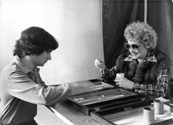 Lucy and I playing Backgammon