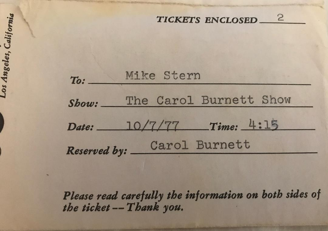 Carol Burnett TV Ticket 10-7-1977 Envelope