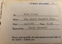 Carol Burnett TV Ticket 10-7-1977 Envelope