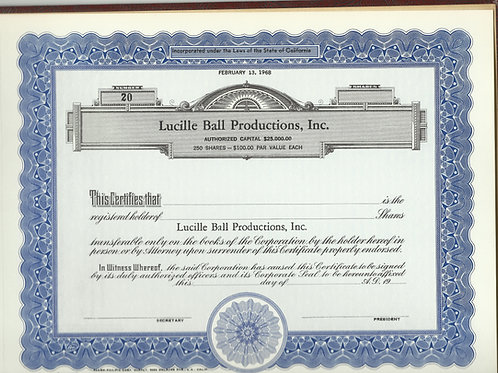 LUCILLE BALL STOCK CERTIFICATE