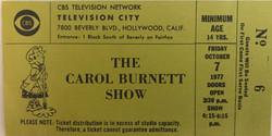 Carol Burnett TV Ticket 10-7-1977