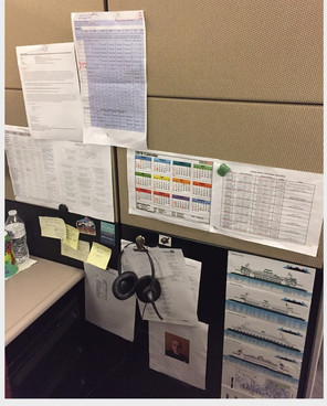 Call Center cubicle wall with schedules