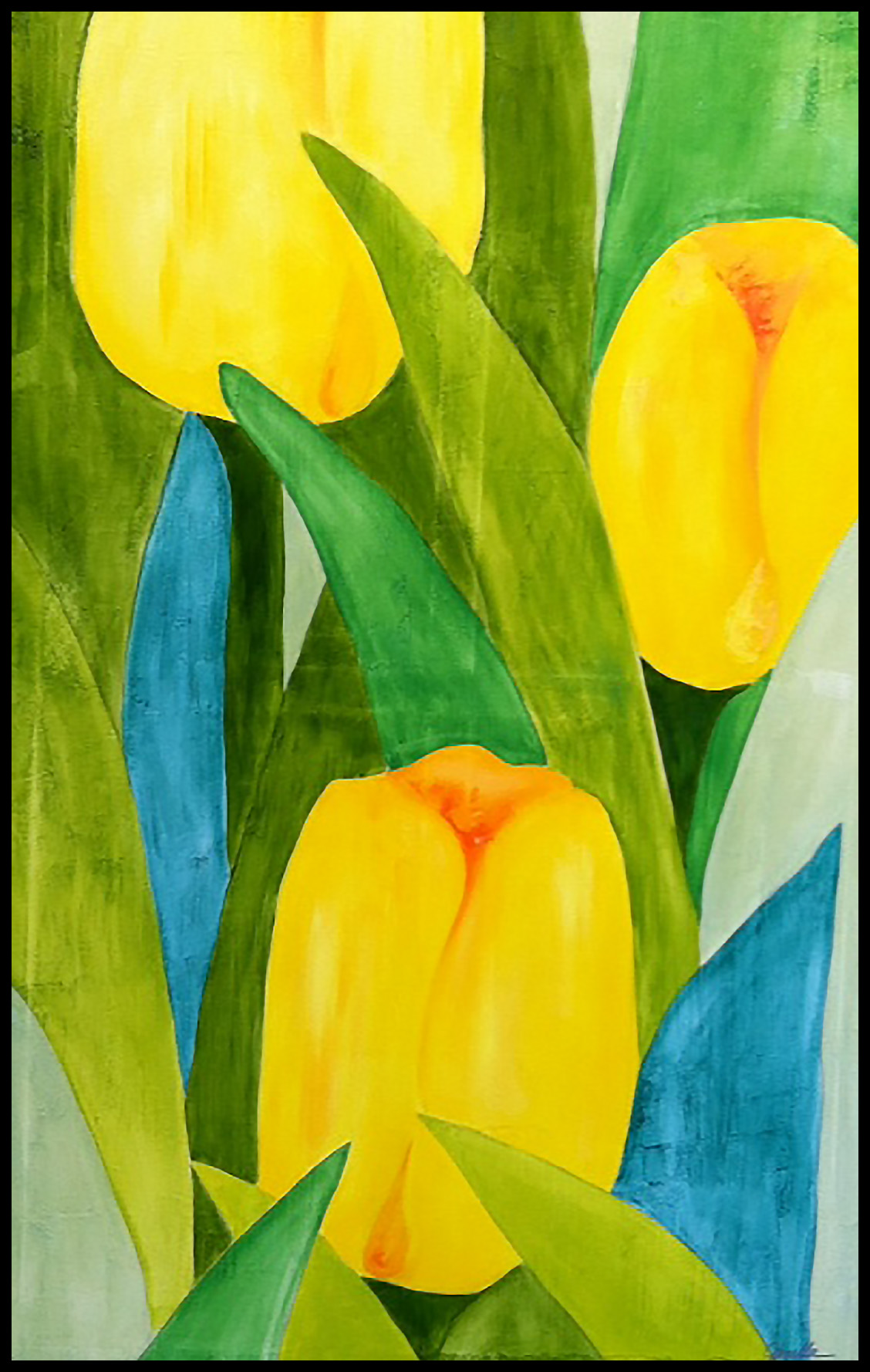 YELLOW TULIPS, 30 X 48