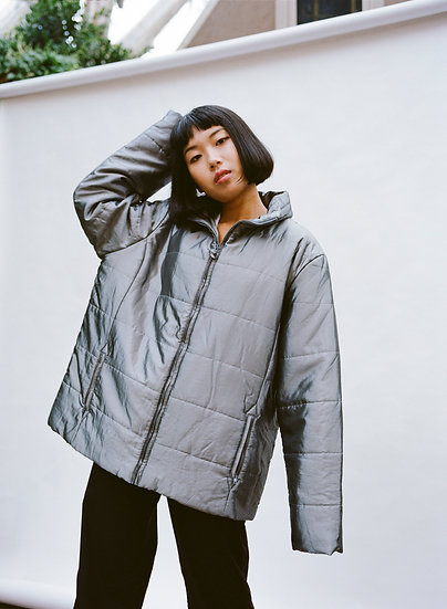 Vintage Silver Quilted Zip Up Puffer Jacket