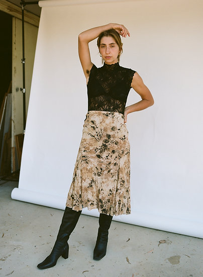 Vintage High Waist Chiffon Jungle Skirt