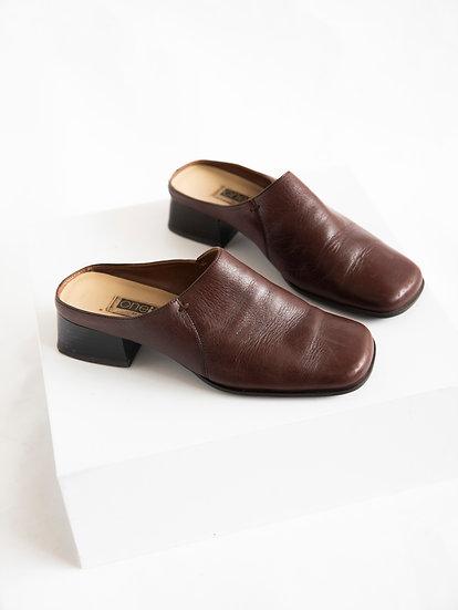 Vintage One Ten 90's Genuine Leather Heeled Slides