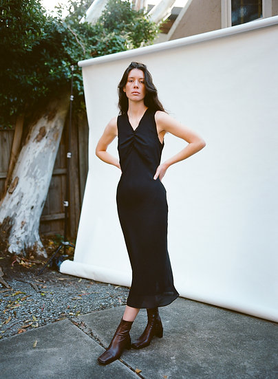 Vintage 90's Viscin Lace Gathered Chiffon Full Length Dress