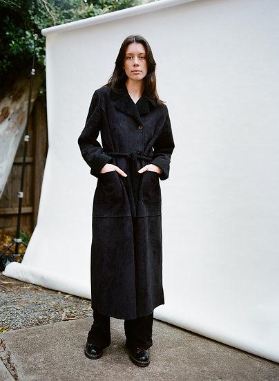 Vintage LaPelle Faux Sheepskin Fleece Full Length Trench Coat