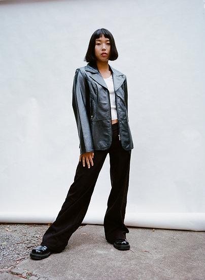 Vintage MCW Metallic Genuine Leather Zip Jacket