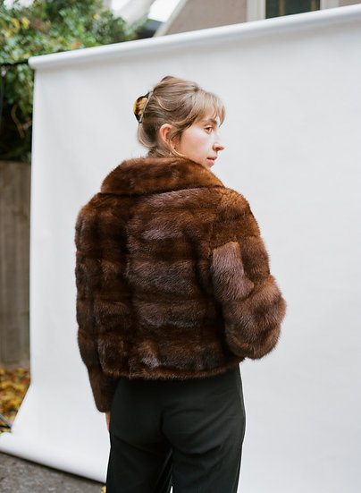 Vintage Revlis Australian Genuine Fur Cropped Jacket