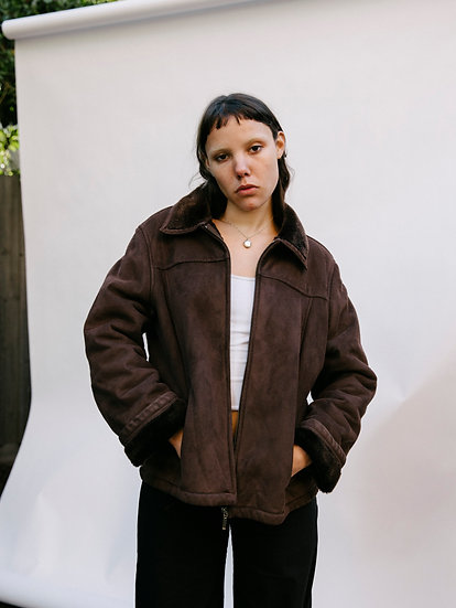 Vintage Deadstock Jacqui.e Faux Suede and Faux Fur Semi Cropped Zip Jacket