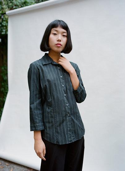 Vintage 90's Miss Shop Pinstripe Button Up Cotton Shirt