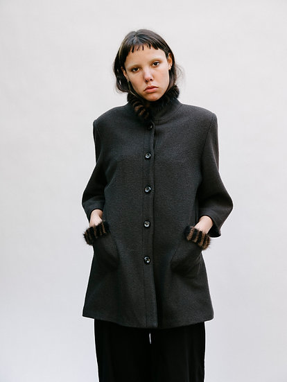Vintage Ghinelli Faux Fur Woollen Button Jacket