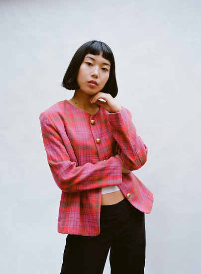 Vintage Today's Classic Gingham Gold Button Jacket