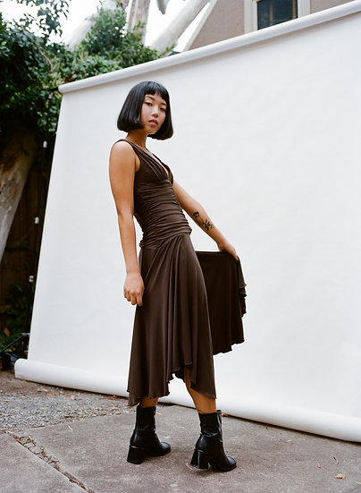 Vintage 90's MKR Full Length Gathered Layered Pixie Dress