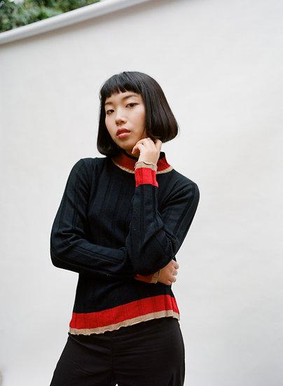 Vintage Caroline Morgan Ribbed Knit Colour Block Sweater