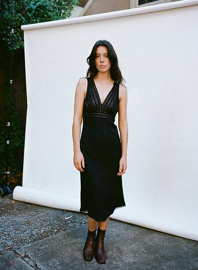 Vintage 100% Pure Indian Black Silk Lace Dress