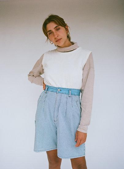 Vintage Pinstripe Denim High Waist Shorts