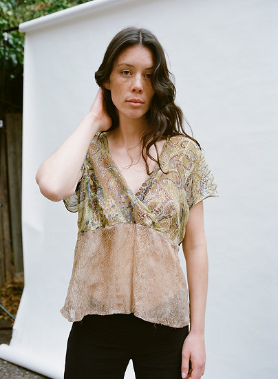 Vintage Lace Palace 90's Patchwork Semi Sheer Cropped Top