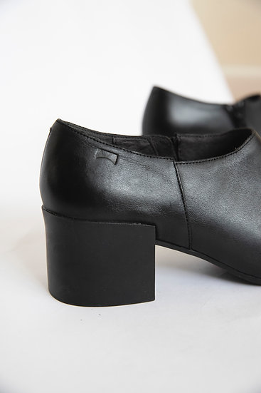 Camper Black Genuine Leather Chunky Heels