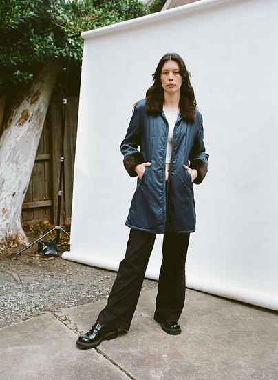 Vintage Klein Design Detachable Faux Fur Collar Padded Jacket