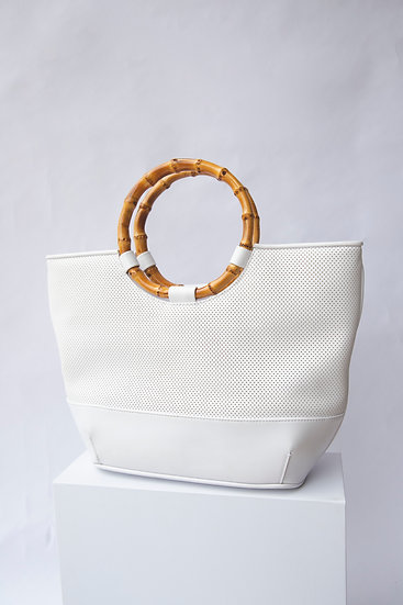 Vintage Cellini White Bamboo Handle Bag