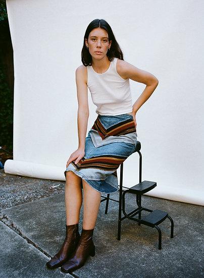 Vintage 70's High Waist Corduroy Velvet Panel  Denim Skirt